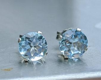 Teardrop Stud Earring Gemstone Studs Gold Plated Studs Blue Topaz Studs Gold Stud Earrings Blue Gemstone Earrings Dainty Earrings