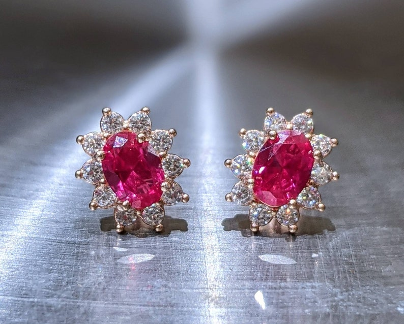 Brilliant Oval Cut With AAA Halo Anniversary Jewelry Pigeon Blood Red Stud Earrings Real Ruby Earrings Rose Gold 0.80ct Genuine Ruby