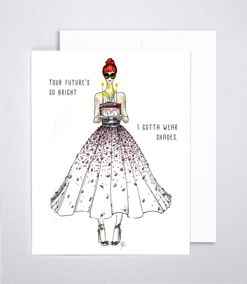 Birthday Card Handmade Fashion Illustration 100