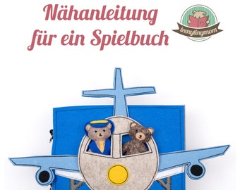 Teddy is flying around the world Quiet book - sewing tutorial -  pattern and template german PDF