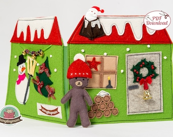 Quiet book Teddy's Christmas house - english pattern for 4 pages (20 pdf pages) step-by-step instructions pdf pattern sewing dollhouse