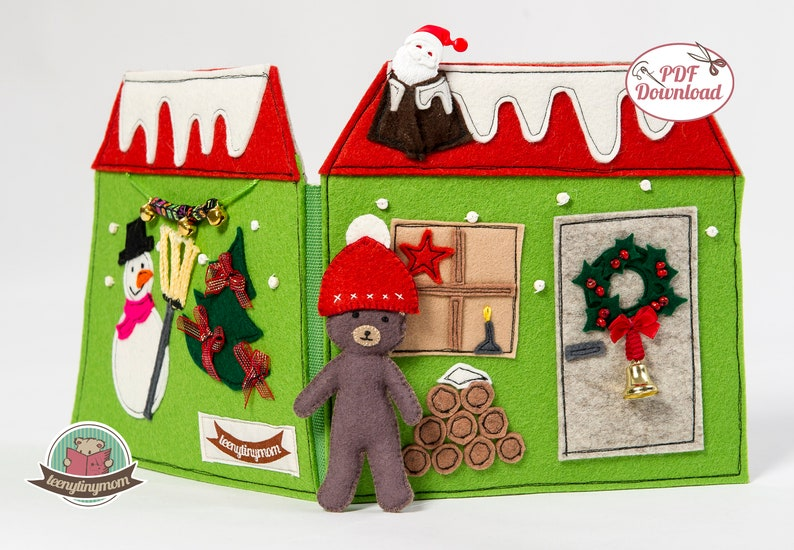 Quiet book Teddy's Christmas house  english pattern for 4 image 0