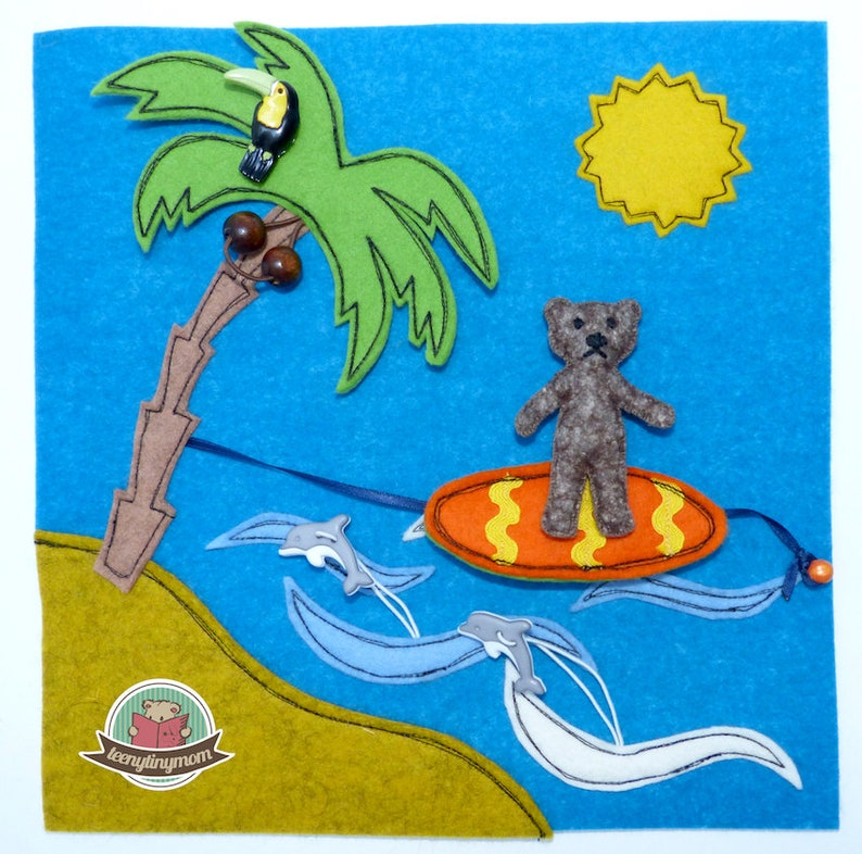 Teddy on holiday surfer  turtles   2 additional pages for image 0