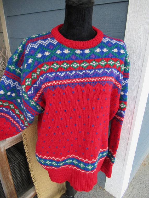 Vintage 1990s Colourful Knit Sweater, Christmas Sw