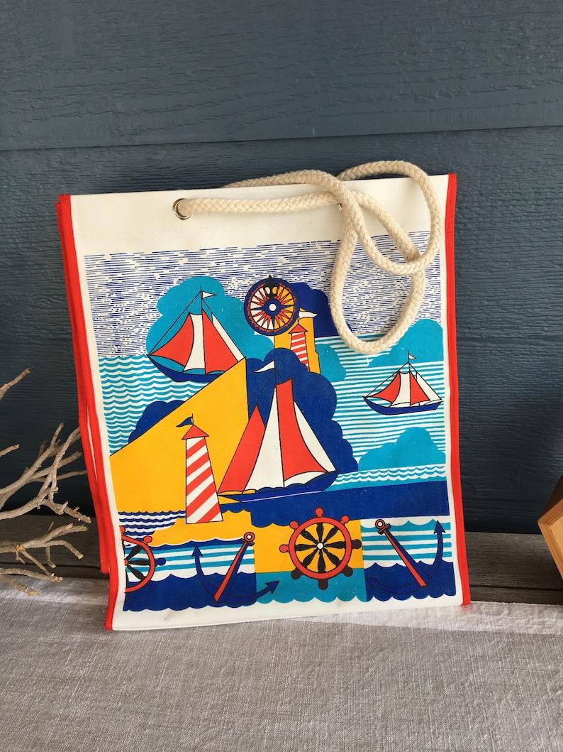 af8b653185 Vintage Nautical Style Tote Bag, Retro Beach Bag, Sailboat Design Bag,  Vintage 80s Canvas Purse