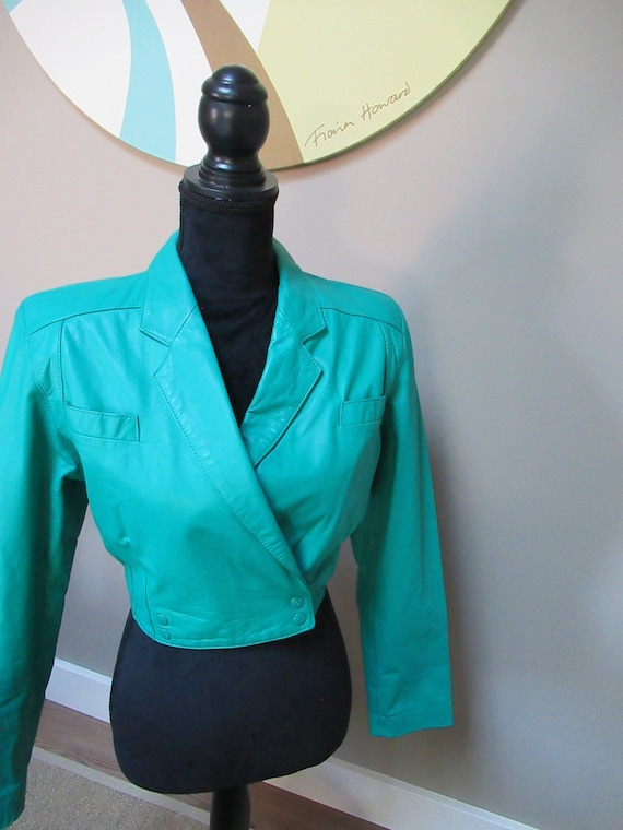 Vintage Turquoise Leather Crop Jacket, 90s Leather