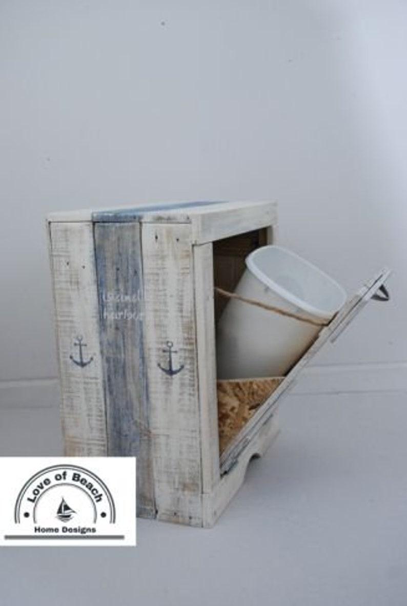 Trash Bin Bath Decor Nautical Beach Rustic Tilt Out Bathroom Trash Cabinet