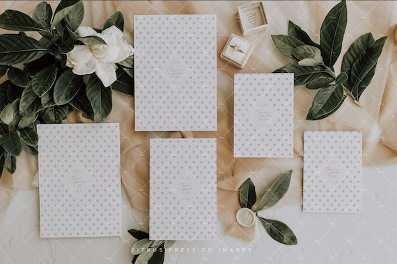 Wedding Suite Mockup Smart Object 003 Invitation Suite Flatlay 5x7 4x6 Enclosure Card Instant Download 3.5x5 RSVP Stationery