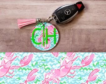 "Monogrammed Keychain w/ Tassel - 2.35"" Inch , Lobstah Roll, Gift for her, Monogram Keychain Tassel"