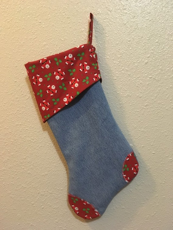 blue jean stocking handmade christmas stocking christmas stocking santa stocking gift