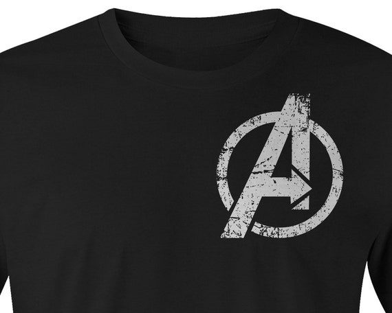 Avengers Logo T Shirt Avengers Over Size Logo Left Chest Etsy