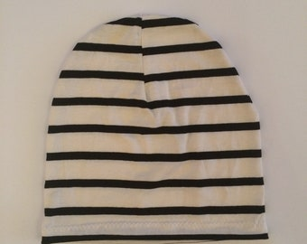 Slouchy Toque | Slouchy Beanie | Baby and Toddler | White w Black Stripe