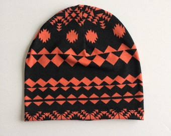 Slouchy Toque | Slouchy Beanie | Baby and Toddler | Coral and Black