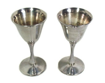 A Pair of Italian Silver Plated Goblets, Plated Cordial Goblets, Two Sherry Goblets, Silver Plated Barware, Bologna Italy, Silver Dining