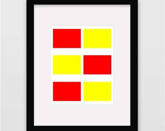 Printable 8X10 Minimal Wall Art in Red and Yellow~Instant Download Contemporary Art~Rectangles~Wall Art Printable~Digital Art~Home Decor