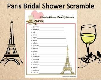 printable parisian themed bridal shower word scramblefrench wedding shower word gameparis wedding printable gameparis wedding word game