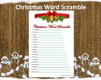 Printable Christmas Word Scramble~Holiday Word Scramble~Christmas Party Word Game~Holiday Party Game~Digital Christmas Game~Holiday Game