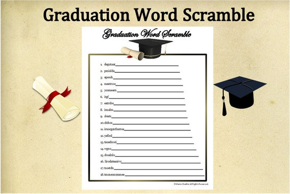 picture regarding Free Printable Graduation Party Games called Printable Commencement Term Scramble Match~Commencement Term Activity~Commencement Bash Match~Fast Down load Commencement~Substantial College~University~Electronic