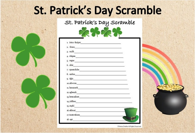 Instant Download St  Patrick's Day Word Scramble Game~St  Patrick's Day  Printable Word Game~Printable St  Pattie's Day Activity~Instant Game
