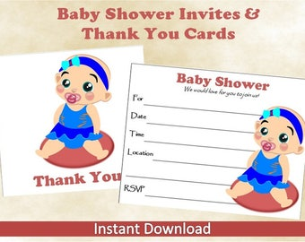 Printable Baby Shower Invitations With Matching Thank You Cards~Instant Download~Blank Invitations~Blank Thank You Cards~Baby Girl