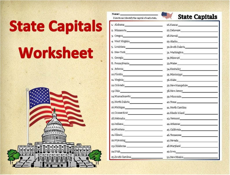 Printable U.S. State Capitals WorksheetTestPractice | Etsy on