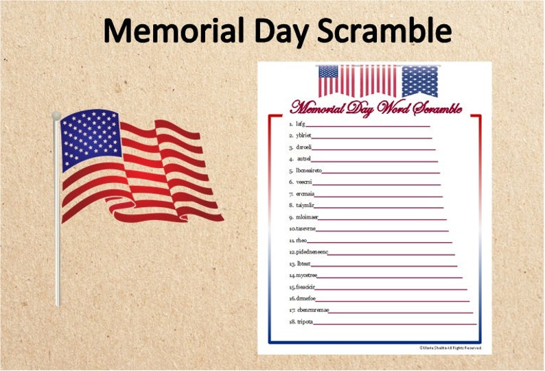 picture relating to Memorial Day Printable Activities named Immediate Down load Memorial Working day Term Scramble Match~Memorial Working day Printable Sport~Downloadable Memorial Working day Phrase Scramble~Memorial Working day Match