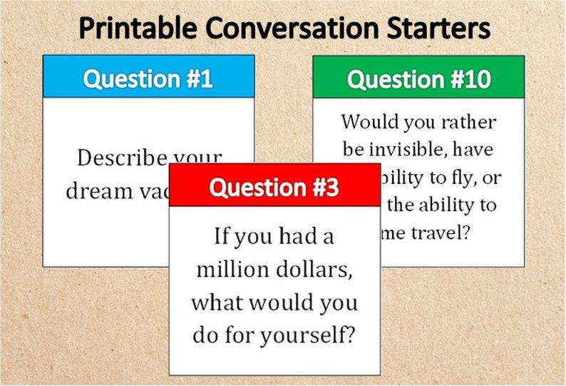 picture about Printable Conversation Cards named 15 Printable Interaction Starters~Instantaneous Obtain Special Communication Playing cards~Wishes~Aspirations~Objectives~Communication Subject areas~Conversation Options