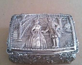 Vintage Silver Jewelry Casket Keepsake box Jewelry Box Ornate Design