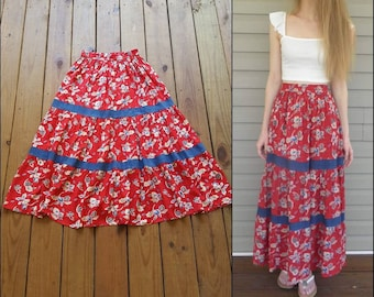 538b2033c Vintage 80's 90's red and blue jean floral tiered full ruffle prairie boho  peasant rayon maxi skirt
