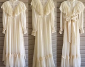 Gunne Sax size 5 vintage 70 39 s cream high neck ruffle long sleeve victorian inspired prarie maxi dress w lace, buttons, back tie