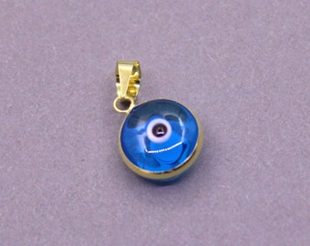 14k Solid Yellow Gold Turquoise Evil Eye Pendant | Evil Eye Jewelry, Evil Eye Charm, Gold Evil Eye, Turkish Evil Eye, Greek Evil Eye Pendant