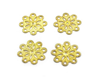 Items similar to 100 Brass 18mm Snowflake Filigree Connectors | Raw