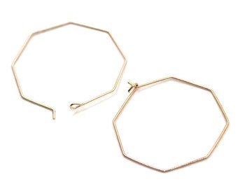 32mm Rose Gold Plated Earring Hoops   Polygon Earrings, Rose Gold Ear Hoop, Earring Findings, 32mm Earring Hoops, Earring Components