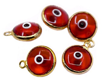 Red eye pendant etsy 5 gold plated red glass evil eye charms protection jewelry evil eye jewelry evil eye beads turkish evil eyegreek evil eye pendant aloadofball Choice Image