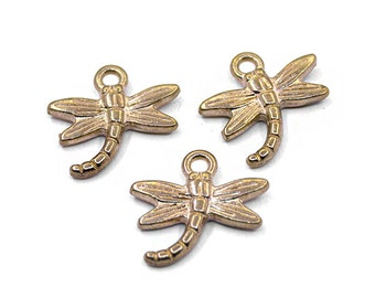 8 Gold Dragonfly Charms | Dragonfly Pendant, Gold Dragonfly Pendant, Dragonfly Jewelry, Small Dragonfly Charm, Animal Charm