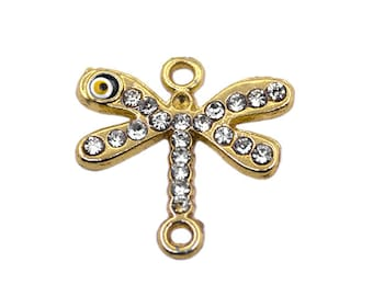 1 Gold Plated Evil Eye Dragonfly Charm | Rhinestone Dragonfly,Gold Plated Dragonfly Charm,Gold Plated Dragonfly Jewelry,Gold Plated Evil Eye