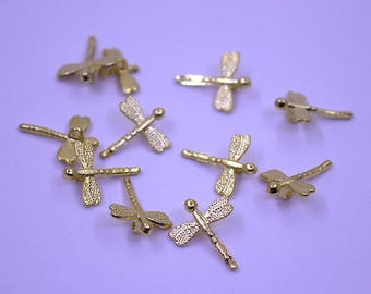 5 Gold Plated Dragonfly Pendant | Gold Plated Dragonfly Charm, Gold Dragonfly Pendant, Matte Gold Dragonfly, Small Dragonfly