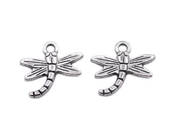 4 Silver Dragonfly Charms | Dragonfly Pendant, Silver Dragonfly Pendant, Dragonfly Jewelry, Small Dragonfly Charm, Animal Charm
