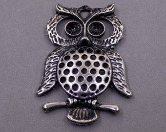 1 Silver Owl Charms | Silver Owl Pendant, Owl Pendant, Bronze Owl, Big Owl Charns, Silver Tone Owl, Big Owl Charms