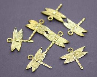 50 Raw Brass Dragonfly Charms 15mm | Gold Dragonfly Charms, Gold Dragonfly Pendant, Brass Dragonfly Pendant, Raw Brass Dragonfly