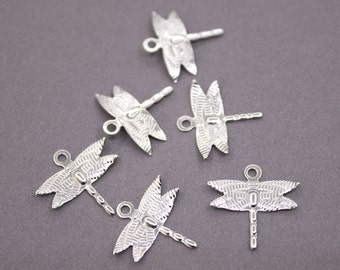 100 Silver Brass Dragonfly Charms 15mm | Silver Dragonfly Charms, Silver Dragonfly Pendant, Brass Dragonfly Pendant, Raw Brass Dragonfly