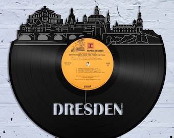 Dresden Wall Art Skyline Wall Art Unique Wall Art Dresden Cityscape Wall Art Vintage Wall Art Vinyl Record Art Up-cycled Record Wall Art