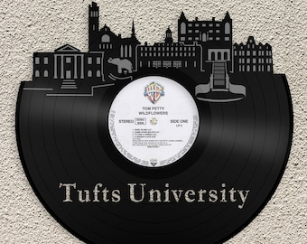 Tufts University Wall Art Tufts University Wall Art Tufts Gift University  Skyline Vinyl Record Art Home Decor Student Gift Graduation Gifts 81cdc57c67