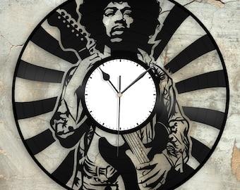 e2bf0156ccc0c Jimi Hendrix Clock Unique Wall Clock Jimi Hendrix art Retro Clock Gift For  Him Clock Collector Gift Mens Cave Decoration Vinyl Record clock