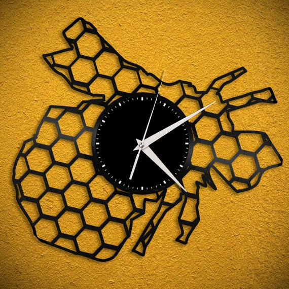 Bee Clock Geometric Hexagon Bumble Bee Wall Art Honey Bee