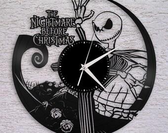 Wall Clock, Nightmare Before Christmas Clock, Jack Skellington Halloween Disney Inspired Wall Decor, Tim Burton, Jack and Sally Vinyl Record