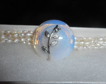 Opal glass  and fresh water pearls bracelet