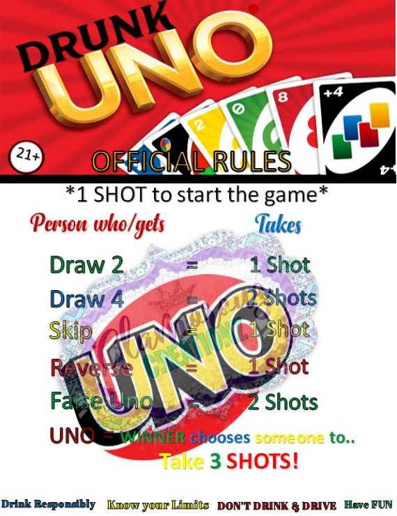 Drunk Uno Rules Etsy
