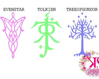 LOTR, lotr decal, lord of the rings, lord of the rings decal, macbook decal, car decal, evenstar, white tree of gondor, tolkien symbol,