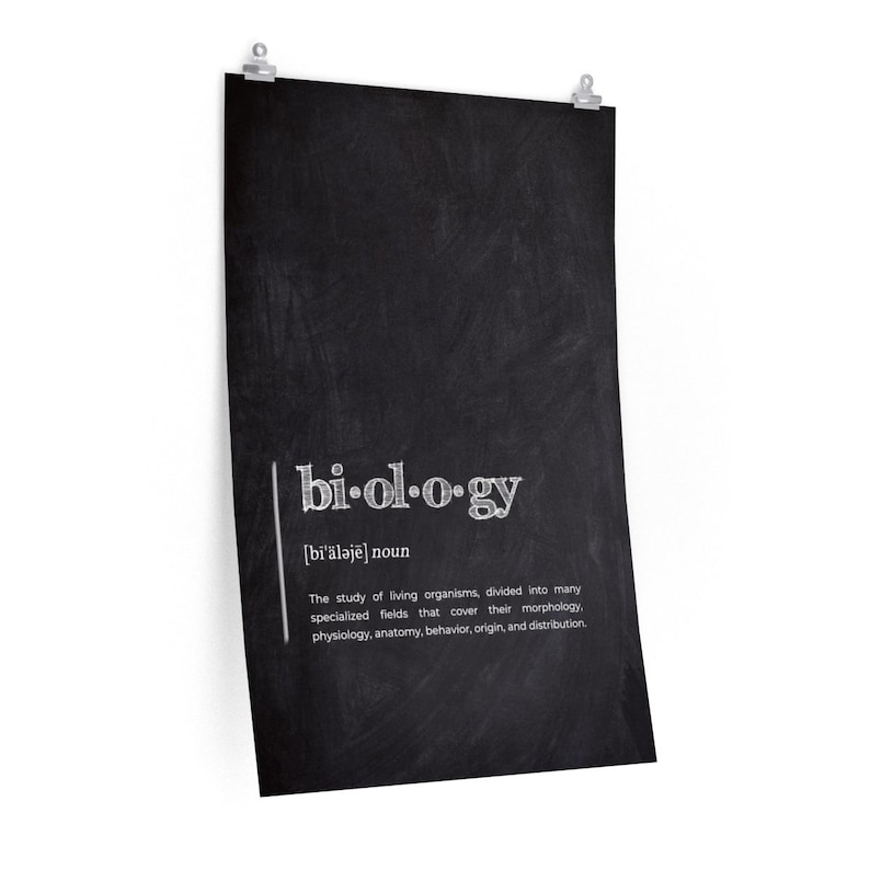 Black  Chalkboard PRINT Premium Matte Paper Typography P BIOLOGY Definition POSTER Science definitions Posters Definition poster